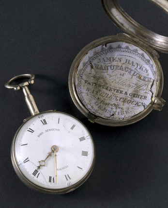 Pocket watch in silver pair case, c 1800.