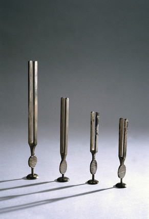 Four tuning forks invented by Gardiner Brown, c 1841-1930.