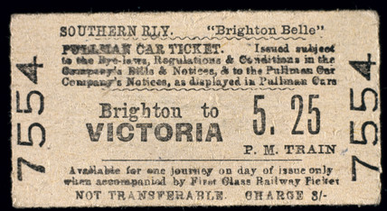 Brighton Belle Pullman Car ticket, 1948. So