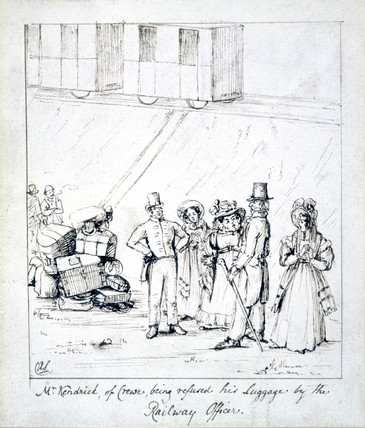 'Mr Kendrick, of Crewe, being refused his luggage by the Railway Officer', 1835.