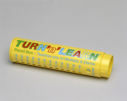 Plastic pencil case with 'Turn 'N' Learn' ready reckoner, c 1994.