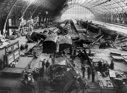 Bomb damage at St Pancras station, London,