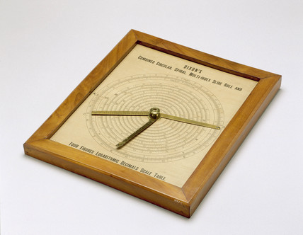 Combined circular and spiral slide rule, in a wooden frame, 1882.