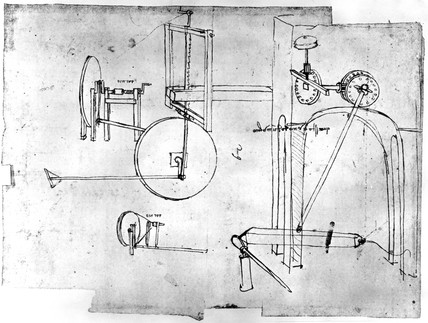 Design for lathe and saw frame by Leonardo da Vinci, late 15th century.