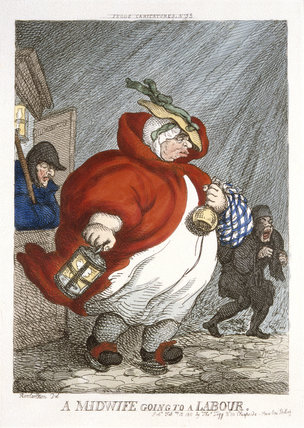 'A Midwife going to a labour', 1811.