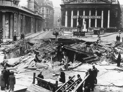 Bomb damage outside the Bank of England, London, 7 January 1942.
