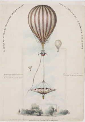 Mr Cocking's parachute descent from the Vauxhall balloon, 24 July 1837.
