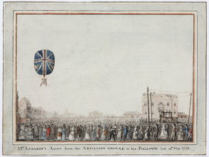 'Mr Lunardi's Ascent from the Artillery Ground in his Balloon', 13 May 1785.