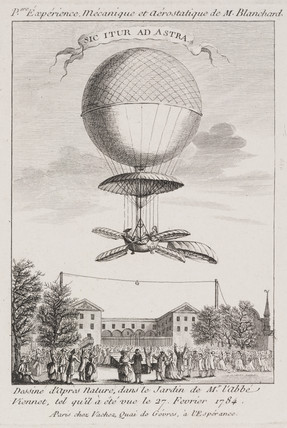 Blanchard's first balloon ascent, 27 February 1784.