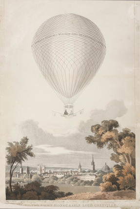 Sadler's balloon ascent from Merton Fields, Oxford, 7 July 1810.