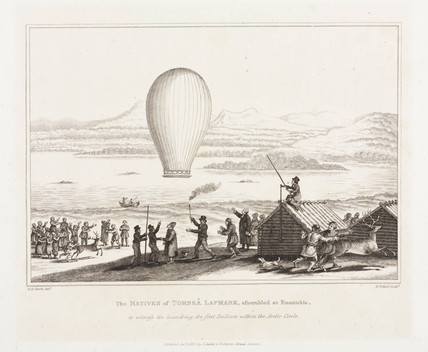 The first balloon ascent in the Arctic Circle, c 1819.