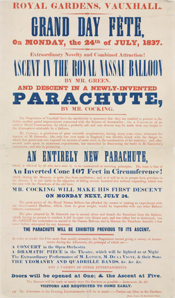 Handbill advertising Cocking's parachute descent, 24 July 1837.