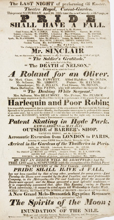 Handbill advertising a theatre programme, 19th century.