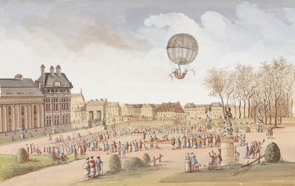 The first ascent in a hydrogen balloon, 1 December 1783.