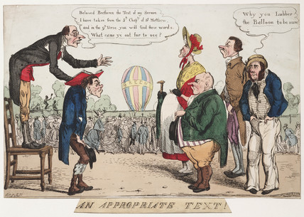 'An Appropriate Text!', satirical ballooning sketch, c 1842.