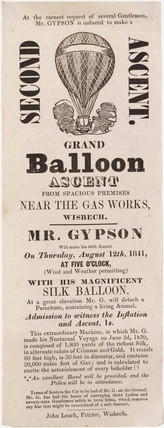Handbill advertising Gypson's grand balloon ascent, 12 August 1841.