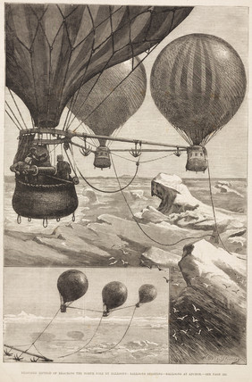 'Proposed Method of Reaching the North Pole by Balloons', c 1880s.