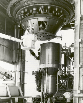 XECF nuclear rocket engine asembly, Nevada, USA, 1 December 1967.