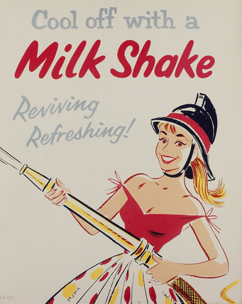 'Cool off with a milk shake', poster, 1950s.