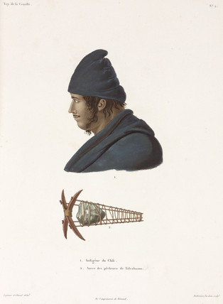 Chilean indian and fisherman's anchor, 1822-1825.