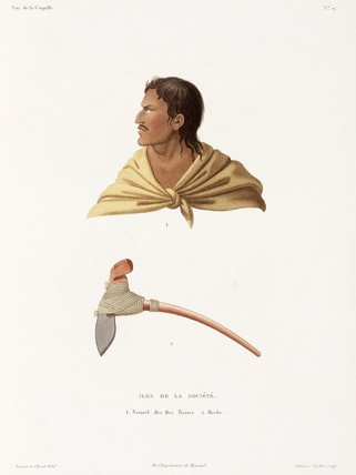 'Native' of the Society Islands, and stone axe, 1822-1825.
