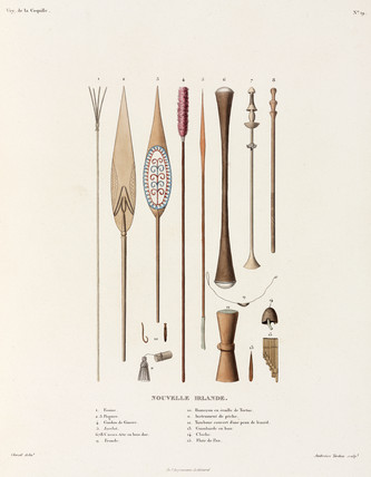 Weapons and other items from New Ireland, 1822-1825.