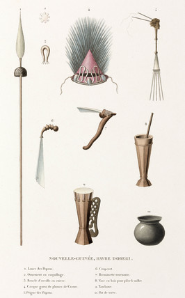 Artifacts from the haven of Doreri, New Guinea, 1822-1825.