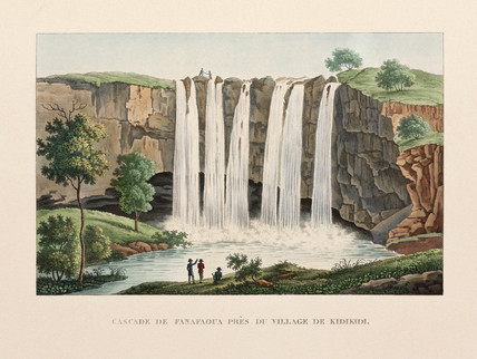 Fanafoua falls, near the village of Kidikidi, New Zealand, 1822-1825.
