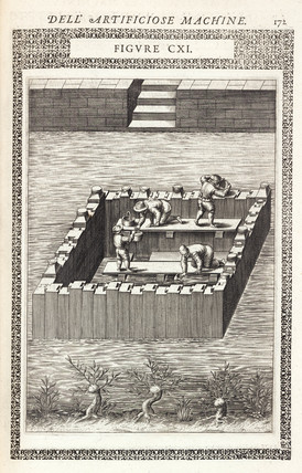 Draining water from behind a coffer-dam, 1588.