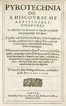 Title page  from Babington's 'Pyrotechnia',  1635.