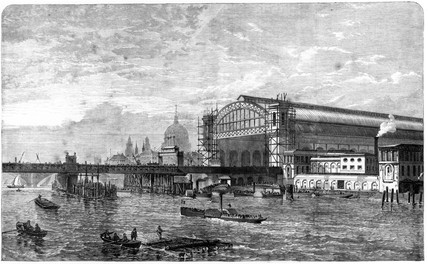Construction of terminus, Cannon Street, London, 1866.