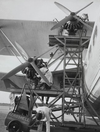 Handley Page HP42 aircraft being refuelled, Croydon Airport, c 1930-1940.
