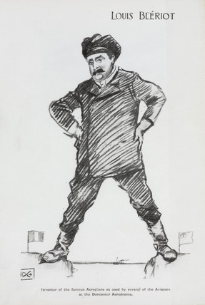 Cartoon of Louis Bleriot, 1909.