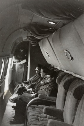 Interior shot showing side facing seats in an Avro Lancastrian, c 1940s.
