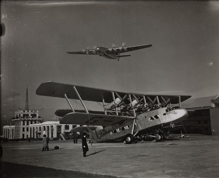 An Armstrong Whitworth Ensign arriving at Croydon Airport, 1938.