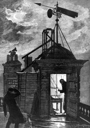 Measuring the wind, Greenwich Observatory, London, 1880.