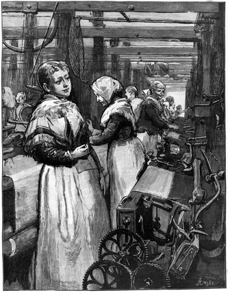 Female workers, wool factory, 1883.