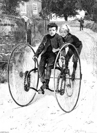 'The Stolen Steed', children on a tricycle, 1891.