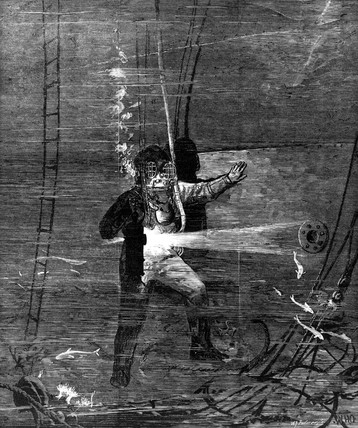 Diving for the wreck of the 'Eurydice', 1878.