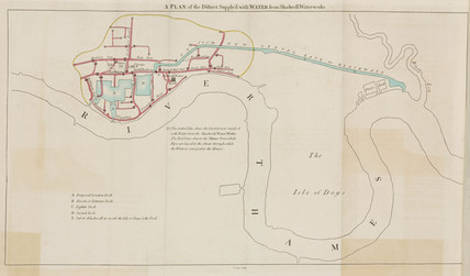 Plan of the district supplied by Shadwell Water Works, London, 1796.