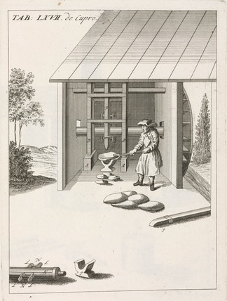 Breaking down copper 'loaves' using a water-powered iron-tipped stamp, 1734.