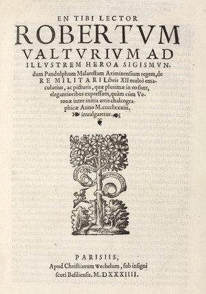 Title page of Valturio's 'De re militari', 1534.