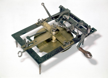 Early clock-wheel cutting machine, c 1668-1672.
