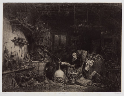 The alchemist, Paris, c 1850.