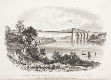 The Menai Suspension Bridge, Wales, c 1855.