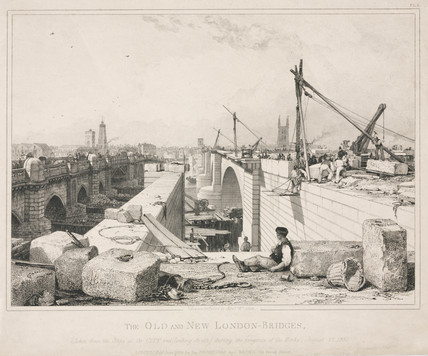 'The Old and New London Bridges', 27 August 1830.
