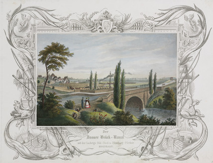 Aqueduct and railway bridge over a canal, Germany, c 1840.