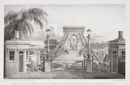 'View of the Entrance to the Suspension Bridge, Hammersmith', London, c 1845.