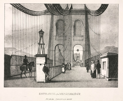 'Entrance of the Menai Bridge from the Carnarvon Shore', Wales, 1820s.