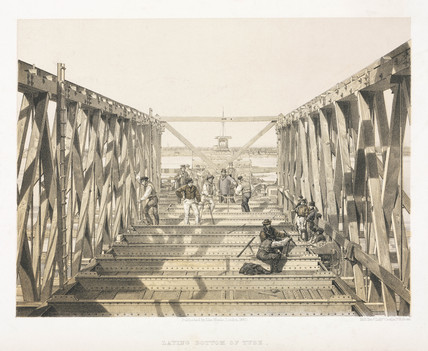 'Laying Bottom of Tube', Victoria Bridge, Canada, 1860.